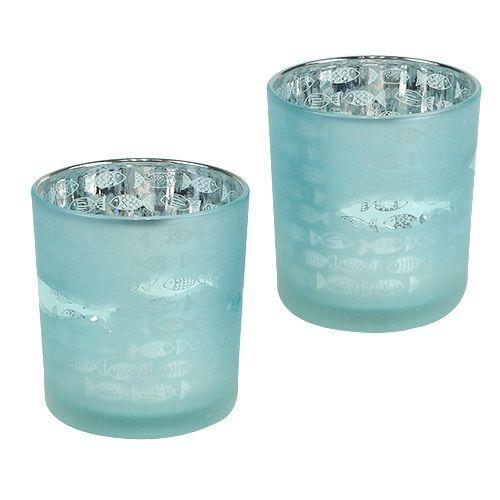 Windlicht Glas Mint Ø7,5cm H8cm 4St