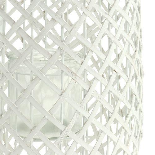 Windlicht mit Henkel Ø25cm H62cm Weiß