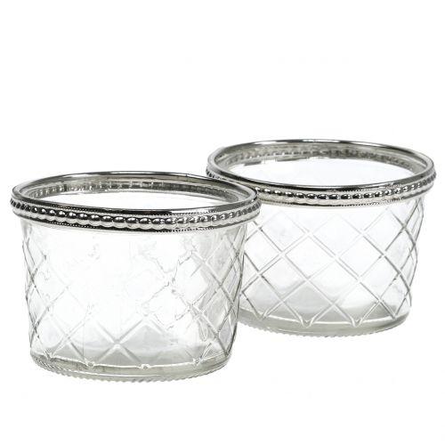 Teelichtglas Raute mit Metallrand Ø8cm H5,5cm 4St