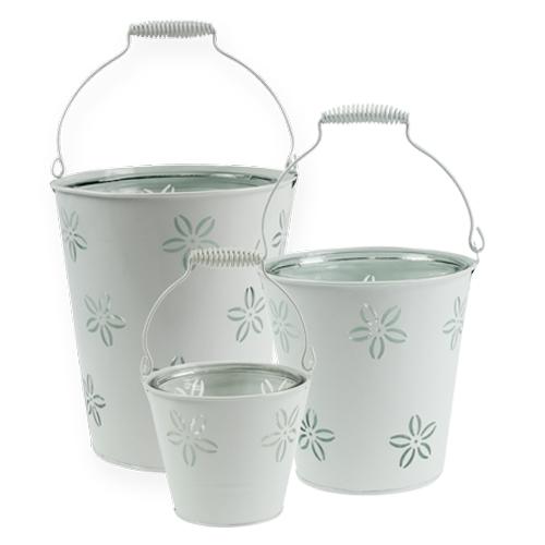 Windlicht-Eimer mit Glas Weiß