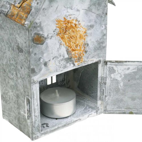 Windlicht Haus Metall Shabby Chic Weiß gewaschen, Rost H20cm