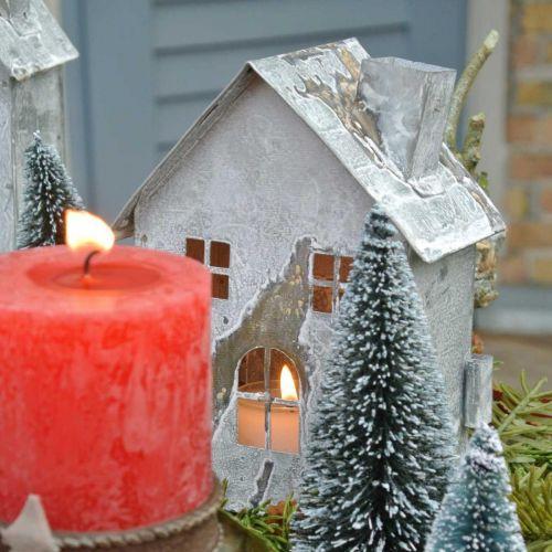 Windlicht Haus Metall, Shabby Chic, Weihnachtsdeko, Weiß gewaschen, Antik-Look H14,5cm