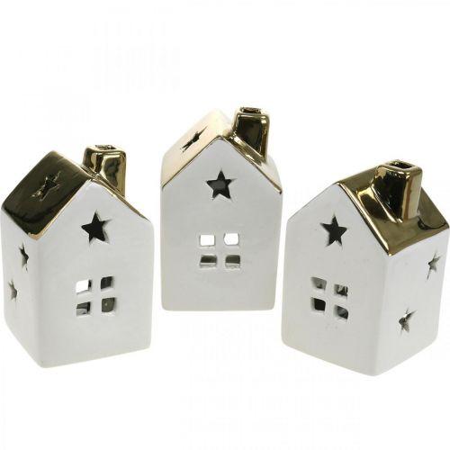 Windlicht Haus Keramik Lichthaus für Teelicht Weiß, Gold 10cm 3St