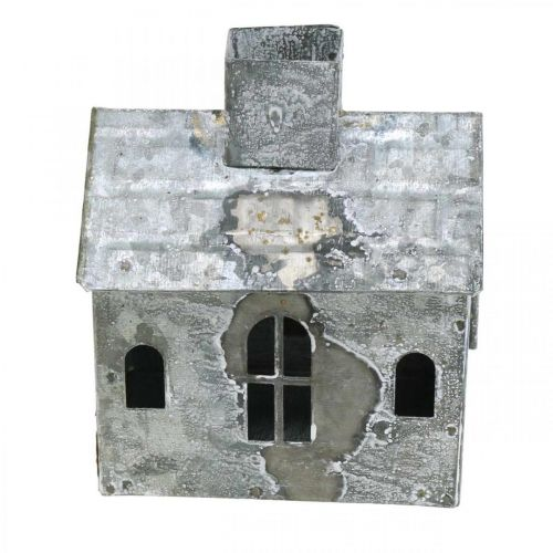 Windlicht Haus Metall Shabby Chic Weiß gewaschen, Rost H11cm