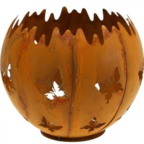 Übertopf Schmetterlinge Edelrost Windlicht Gartendeko Rost Ø21cm