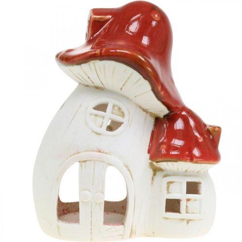 Windlicht, Pilzhaus, Teelichthalter, Herbstdeko, Keramik H15cm 2St