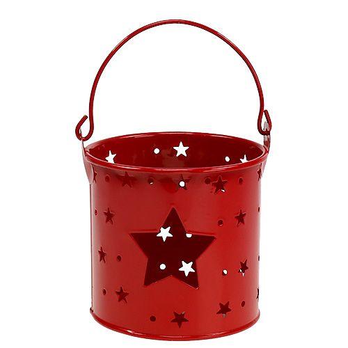 Windlicht mit Sternenmuster Rot Ø9cm H9cm 1St