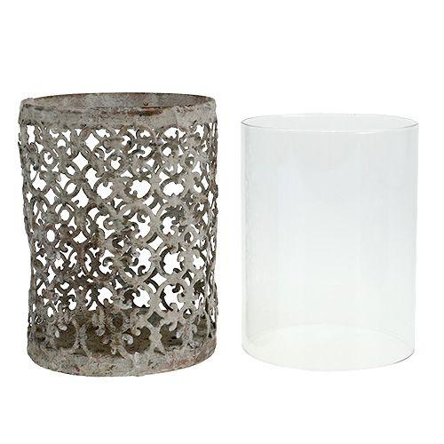 Windlicht mit glas grau 10 5cm h15cm gro handel und for Windlicht glas gross
