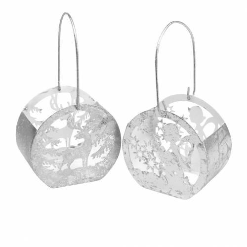 Laterne mit Engel- und Rentiermotiv Silber, Weiß Ø10cm H9,5cm