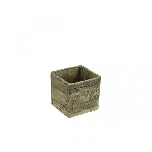 Blumentopf quadratisch 9,5x9,5cm Beton Pflanzkasten Holz Look