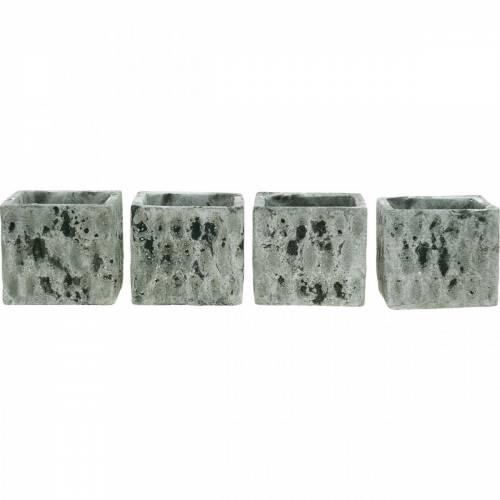 Pflanztopf, Keramik-Gefäß, Tischdeko Antik Optik H8cm 4St