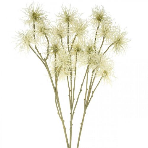 Xanthium Kunstblume Creme Herbstdeko 6 Blüten 80cm 3St