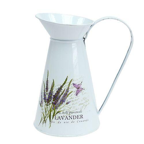Zinkkrug mit Lavendelmotiv Weiß H 22cm 1St