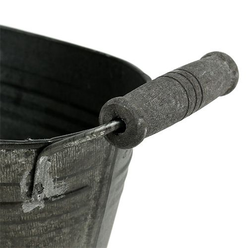 Zinkschale oval Antik mit Holzgriffen 18cm x 10cm