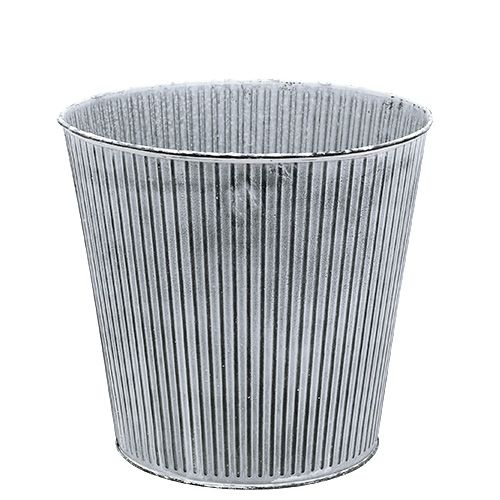 Zinktopf Grau gestreift Ø16cm H14,5cm