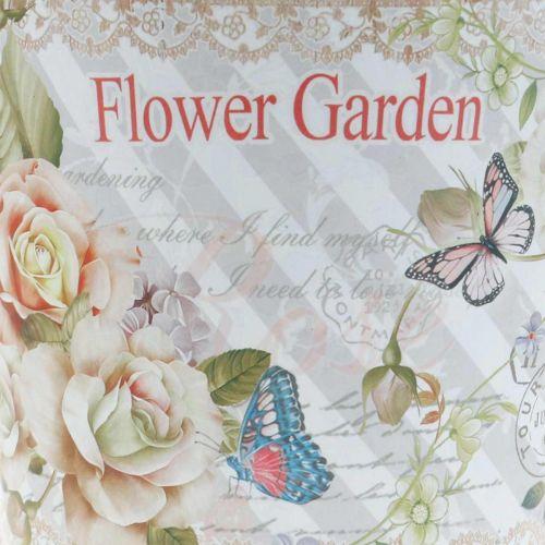 Blumentopf Metall Rosen Sommerdeko Übertopf Ø13,5cm H11,5cm