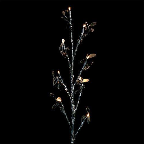 Zweig Silber mit Blättern LED 75cm 2er-Set