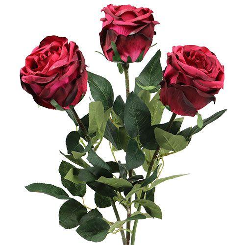 Rose gefüllt dunkelrot Ø8cm L38cm 3St
