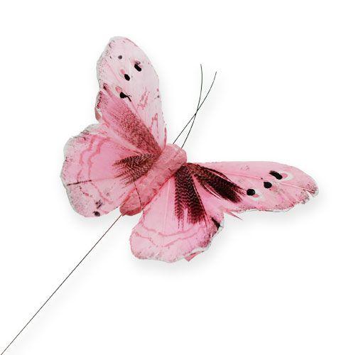 deko schmetterling am draht rosa 8 5cm 12st gro handel und lagerverkauf. Black Bedroom Furniture Sets. Home Design Ideas