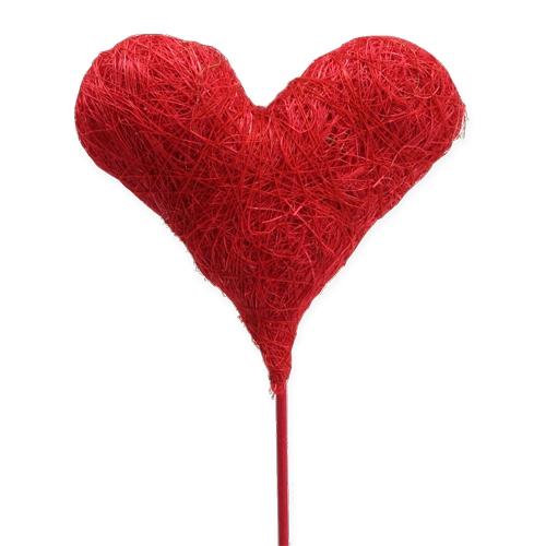 Blumenstecker Sisalherz Rot 10cm 12St