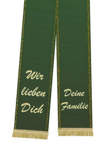 Trauerband bedruckt 125mm x 75cm dunkelgrün