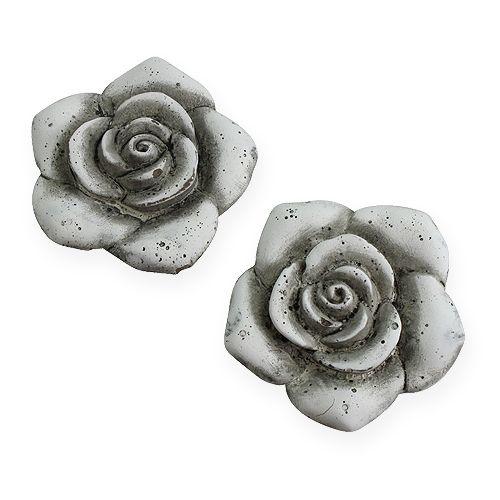 Deko-Rosen Grau 10cm 4St, Großhandel und Lagerverkauf