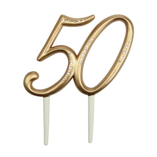 """Jubiläumszahl """"50"""" zum Stecken Gold 15,5cm"""