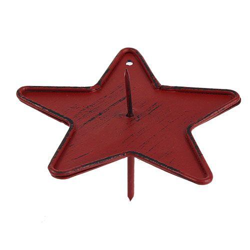 Kerzenhalter Stern zum Stecken 9cm Rot
