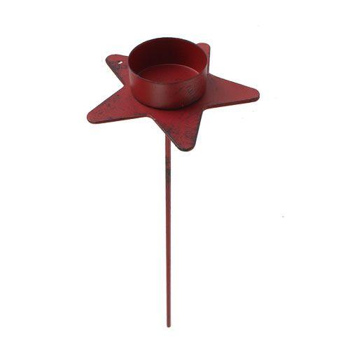 Teelichthalter Stern zum Stecken Rot