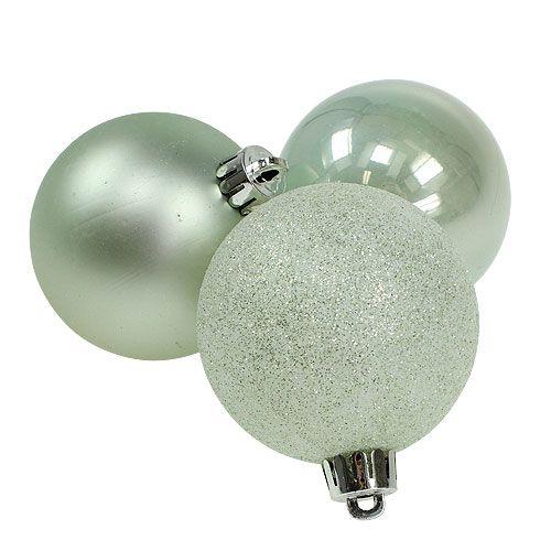 Weihnachtskugel Plastik Mint mit Glitter 6cm 10St