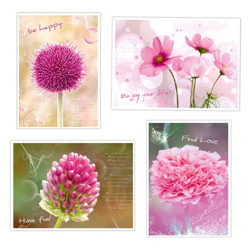 Postkarten mit Blumenmotiven sort. 4St