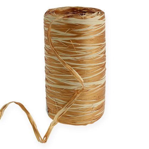 Raffia-Band Bicolor Gold-Creme 200m