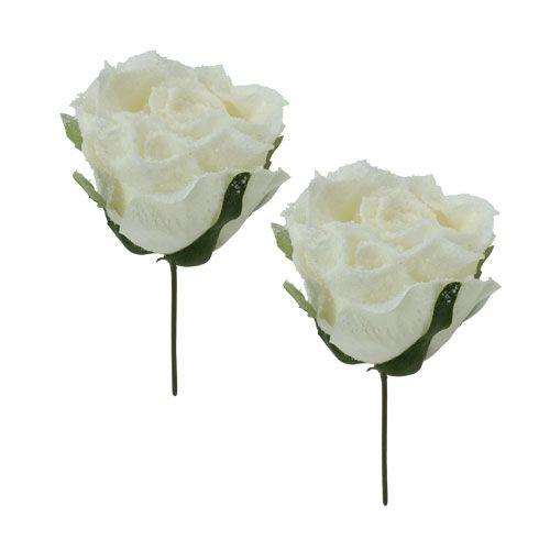 Rosenköpfe künstlich beeist Weiß Ø8cm 6St