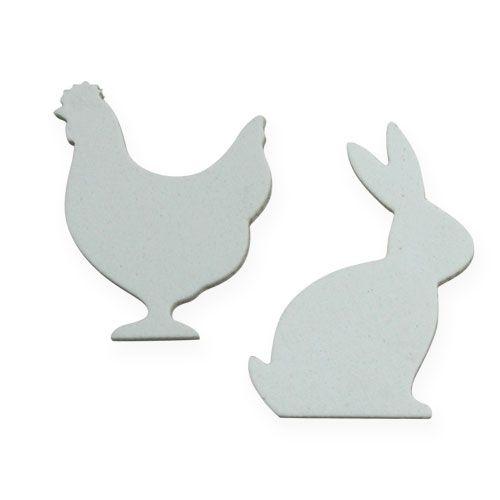 Streudeko Ostern Huhn, Hase Weiß 4cm 96St