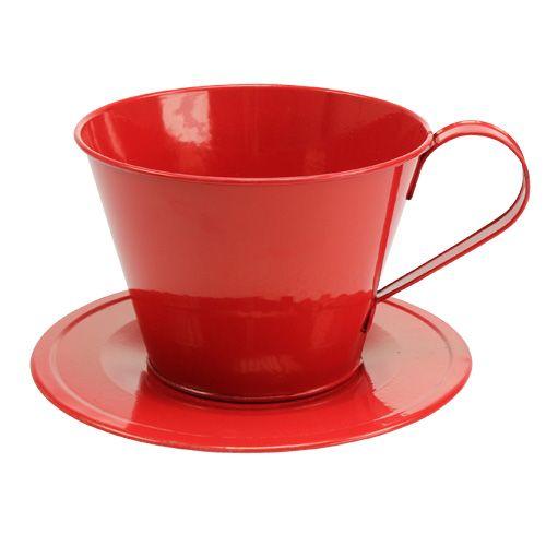 Tasse mit Teller Rot Ø16cm H11cm