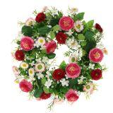 Blumenkranz mit Bellis Pink-Weiß Ø30cm