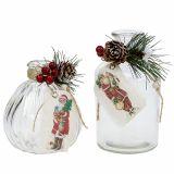 Glasflaschen mit Weihnachtsdeko 2St