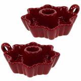 Kerzenhalter Keramik Rot Ø12cm 2St