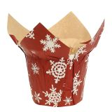 Papier Übertöpfe mit Schneeflocken Rot-Weiß Ø9cm 12St