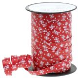 Weihnachtsband Rot mit Schneeflocke 10mm 100m