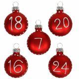 Weihnachtskugel Ø3,5cm mit Zahlen Rot 24St