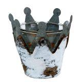 Windlicht Krone mit Birke Ø11cm H11,5cm 1St