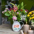 Deko-Krug, Blumenvase Vintage-Optik, Emaille-Krug mit Rosenmotiv H19cm