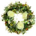 Dekokranz mit Rosen Ø40cm weiß, grün