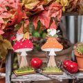 Fliegenpilz für den Herbst, Holzdeko, Wichtel auf Pilz Orange/Rot H21/19,5cm 4St
