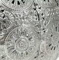 Metallwindlicht Silber orientalisch Ø17,5cm H12cm