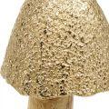 Deko Pilz groß Metall Holz Golden, Natur Deko Figur Herbst 32cm