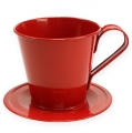 Tasse mit Teller Ø9cm H8cm 6St. farbig sortiert