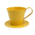 Tasse mit Teller Ø12cm H10cm 8St. farbig sortiert